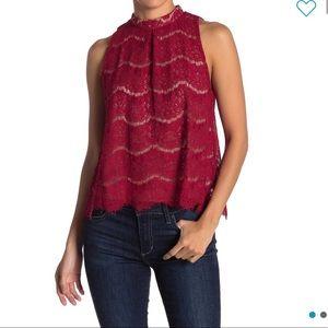 Love, Fire mock neck lace tank